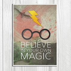 Believe In Your Own Magic - Harry Potter Inspired Typographic Art Print Yer A Wizard Harry, New Print, Cool Gifts, Book Quotes, Believe In You, Inspire Me, Harry Potter, Geek Stuff, Magic