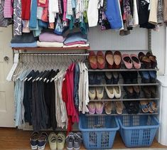 s 16 brilliant ways to squeeze much more into your closet, closet, organizing, storage ideas, Keep the floor clear with a handy basket Hanging Shoes, Hanging Clothes, Clothes Hanger, Boot Organization, Bedroom Organization, Storage Hacks, Diy Storage, Storage Ideas, Baskets For Shelves