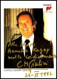 Carlo Maria Giulini, Sony photograph of the late conductor of both the Los Angeles and Chicago Symphony Orchestras.  Giulini made terrific recordings from Chopin to Verdi! #VerdiMuseum