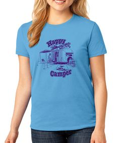 This Blue 'Happy Camper' Crewneck Tee - Plus by SignatureTshirts is perfect! #zulilyfinds