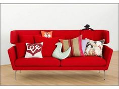 living room, Red Modern Sofa With Unique Cushions Shape For Contemporary Interior Design: Cool living room design with decorative pillows cushions Sofa Design, Vitra Design, Canapé Design, Furniture Design, Design Ideas, Vitra Sofa, Interior Design Living Room, Living Room Designs, Room Interior
