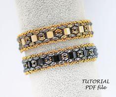 Beaded Bracelets Tutorial, Beaded Bracelet Patterns, Beading Patterns, Beaded Jewelry, Leather Jewelry, Beading Needles, Beading Tutorials, Bead Weaving, Chevron