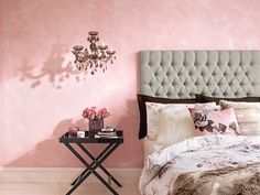 The clashing prints, faux fur furnishings and chandelier help to make this room look luxurious. Master Bedroom Bathroom, Home Bedroom, Tesco Home, Home Interior Design, Interior Decorating, Ideas Dormitorios, Summer Bedroom, Pink Bedrooms, Small Apartments