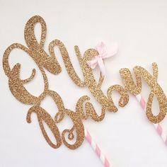 Oh Baby Rose Gold Glitter Cake Topper. Baby Boy & Baby Girl Cake Topper. Baby Shower Cake Topper