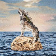 "Encroach by artist, Amy Guidry; acrylic on canvas; 6"" x 6,"" private collection  #art #painting #wolf #nature #surreal #surrealism #surrealist #vegan #mountains #ocean #contemporaryart #animals"