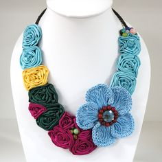 Flower Crochet V-Shaped Necklace (Sky Blue) // women's gift ideas // jewelry for women // handmade necklaces // flower necklaces by AccesstopiaThailand on Etsy