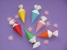 Schultüten - Einschulung  Tischdeko  Mini Schultüte (6 Stück) - ein Designerstück von Wonderful-Paper-Art bei DaWanda