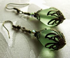 Lime Green Frosted Crystal Bronze Earrings by TitanicTemptations, $29.00