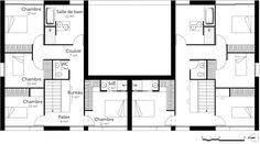 Plan maison jumelée - Ooreka | Projet habitation jumelée | Pinterest