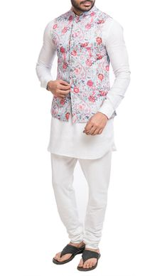White kurta and matching churidar, a baby blue base printed Nehru jacket with an attached pocket square. Shop now! Nehru Jacket For Men, Nehru Jackets, Fashion Suits, Mens Fashion, Wedding Kurta For Men, White Kurta, Waist Coat, Sherwani, Fasion
