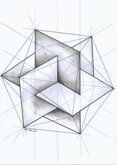 "Drawing Techniques Insertado - ""ㅤ"" Op Art, Sacred Geometry Symbols, Geometric Drawing, Geometric Artwork, Math Art, 3d Drawings, Geometric Designs, String Art, Fractal Art"