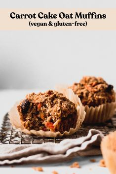 Made with oats, these healthy Carrot Cake Muffins make a delicious grab-and-go breakfast or snack to fuel you. Vegan and gluten-free! Carrot Cake Muffins, Vegan Muffins, Oat Muffins, Spinach Muffins, Healthy Muffins, Vegan Breakfast Muffins, Breakfast Dishes, Gluten Free Baking, Vegan Baking