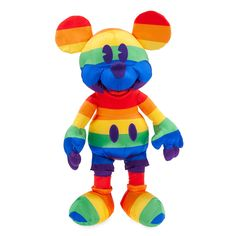 This satiny plush Mickey Mouse is the most colorful treasure out there. With the embroidered features, this icon's vibrant personality really shines through! Part of the Rainbow Disney Collection. Figurines D'action, Disney Figurines, Disney Plush, Disney Mickey Mouse, Walt Disney, Disney Channel, Star Wars, Disney Sketches, Disney Merchandise