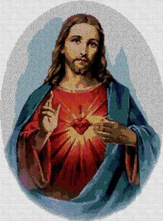Sagrado-Corazon-de-Jesus en punto de cruz.