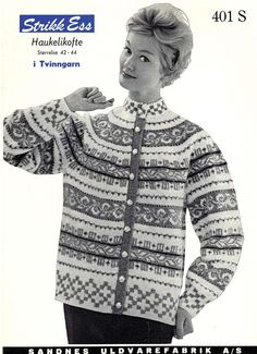 Ravelry: Retro Free Cardigan Haukelikofte pattern by Liv Tovsland Fair Isle Knitting, Knitting Yarn, Nordic Sweater, Men Sweater, Knitting Patterns Free, Free Knitting, Knitting Machine, Knit Stranded, Norwegian Knitting