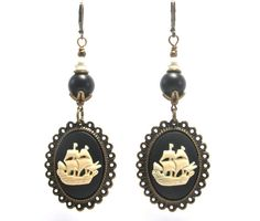Cameo Clipper Ship Earrings  Pirate Jewelry  by GalvestonTradingCo, $20.00