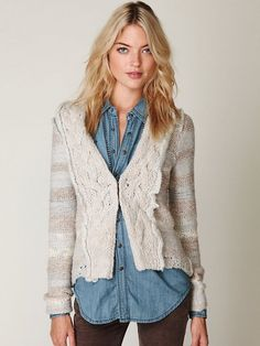 Free People Cozy Braided Cardi in Beige (natural) - Lyst