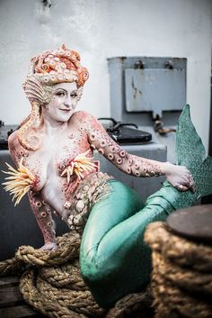Mermaid body paint with prosthetics. www.civilisedmess.co.uk Happy Slap Boutique. Makeup by Grace McComisky