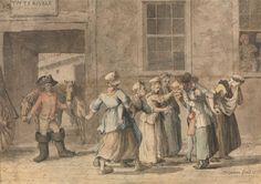 Departure from a French Inn, Grimm 1775. Striped shortgown/bedgown.