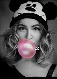 Touch Of Fashion Splash Photography, Color Photography, Beauty Photography, Portrait Photography, Color Splash, Pink Color, Color Pop, Blowing Bubble Gum, Black And White Pictures