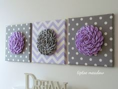 Set of 3 Wall Flower Crochet Blossom 12x12 Canvas Lilac Grey Flowers Lilac Chevron Grey Polka Dot Print Fabric-Nursery Decor