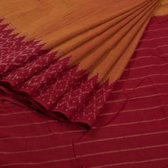 Sarveshi Handwoven Ikat Cotton Saree with Striped Pallu 10007261 - AVISHYA