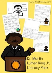 A literacy pack for 1st through 4th grades to honor Dr. Martin Luther King Jr.