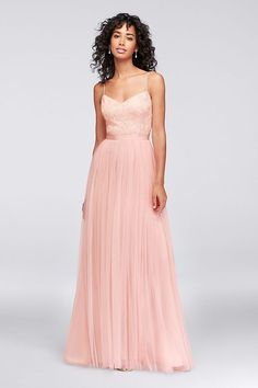 A long and flowy pink bridesmaid dresses perfect for a pink wedding color palette | Sequin and Tulle A-Line Bridesmaid Dress by Reverie available at David's Bridal