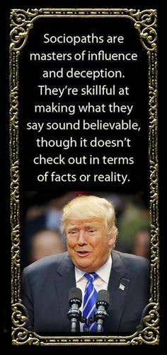 I don't think he's a sociopath. That would require brains. He's dumb as a box of hair. It's the Republicans around him enabling him to destroy us. Vote them all out. Thats The Way, That Way, Narcissistic Sociopath, Just In Case, Funny, Presidents, Facts, Shit Happens, Sayings