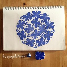 «Pattern no2.... Simple one again 😊😊 . Big one by mama small one by Laterre. #handmade #hanco #hanko #rubberstamp #eraserstamp #bymamalaterre…»