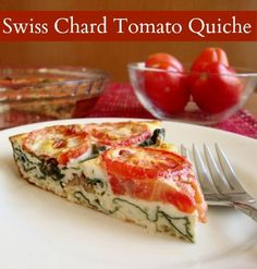 Crustless Swiss Chard Tomato Quiche | Real Food Real Deals #healthy #recipe - try almond milk instead of lactose-free cow's milk with it as well!