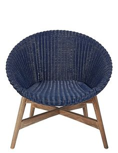 Buy the Capri Teak Chair - Navy from Marks and Spencer's range. Garden Chairs, Garden Furniture, Cross Beam, House And Home Magazine, Cool Kitchens, Beams, Wicker, Capri, Comfy