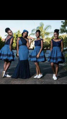 African Wedding Theme, African Wedding Attire, African Fashion Dresses, African Dress, Fashion Outfits, Setswana Traditional Dresses, African Bridesmaid Dresses, African Beauty, Bridesmaids