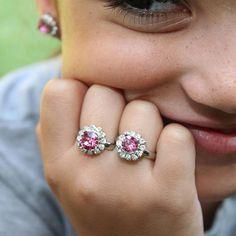 Flower Girl Pink Ring Gift Little Girl Swarovski Crystal
