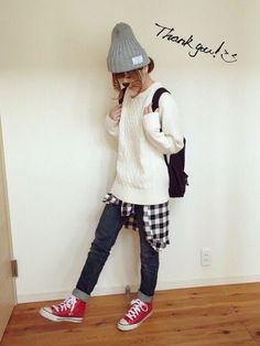 ゆりあのこあら│GUのニット・セーターコーディネート-WEAR Tokyo Fashion, Teen Fashion, Fashion Models, Fashion Shoes, Fashion Tips, Fashion Trends, Runway Fashion, Womens Fashion, Cheap Converse Shoes