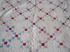 Vintage Irish Chain Quilt Pastel w Red Chain Heavily Quilted Summer Weight