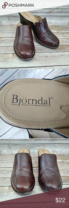 Bjorndal Leather Pluto Mules Size 9 Bjorndal by Born Leather Pluto Mules Size 9. Comfy, cute and classic!  Photos are the description of this item. Any flaws will be noted. Otherwise article is an excellent condition. Bjorndale Shoes Mules & Clogs