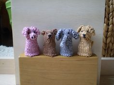 Four little finger puppets, all with the same body but different ears, noses and tails to give them their character. These are quick to knit and use only small amounts of double knitting weight yarn. Knitting For Charity, Double Knitting, Animal Knitting Patterns, Crochet Patterns, Knitting Yarn, Free Knitting, Finger Puppet Patterns, Operation Christmas Child, Knitted Animals