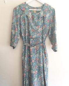 New product cyanfloral printed dress #fab.#vintageclothing #vintagefashion #ヴィンテージ #ビンテージ#ヴィンテージファッション #ヴィンテージドレス #ヴィンテージワンピース#花柄ワンピース