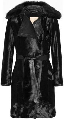 Karl Donoghue Shearling and leather-trimmed calf hair coat