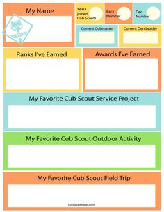 Fun time capsule questionnaire for cub scouts