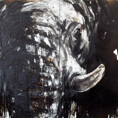 Elefant 66, 160 x 300 cm, Mixed Media auf Leinwand