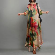 Retro Style Lotus Prints Plus Size Maxi Dress Asymmetric Tencel Elegant Dress in Red Purple One Size(Regular), Plus Size Maxi Dresses, Women's Dresses, Dance Dresses, Formal Dresses, Wedding Dresses, Elisa Cavaletti, Hippy Chic, Elegant Dresses For Women, Country Dresses