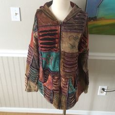 """Boho Rising International hippie hoodie In excellent condition!  Amazing colors!  Measures 26"""" long and 21"""" armpit to armpit Rising International Jackets & Coats"""