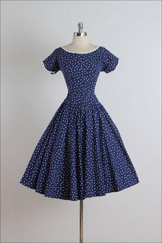 ➳ vintage 1950s dress  * polka-dot print cotton * white ribbon accents * metal side zipper * by R & K Originals  condition | good - the white