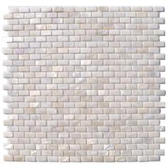 Mini Brick Pattern 12 in. x 12 in.Mosaic Floor and Wall Tile-PITZY BRICK CASTEL DEL MONTE WHITE PEARL at The Home Depot
