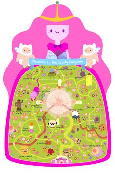 Candy Kingdom map illustration by Laura Langston