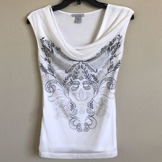 H&M Top H&M white sleeveless top with cowl neck. Black and grey pattern in front, plain white back. Elastic cotton. Worn once, like new. True to size. H&M Tops Blouses