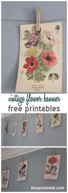 Free Vintage Flower Printables Made into a simple banner