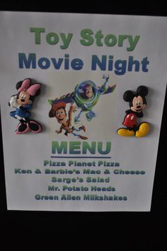 Ahhh Disney-themed menu for the kids + movie night. :::: this could be turned into a Disney Vacation Surprise Reveal! When the movie comes on, have it be the Disney Vacations DVD. When the kids are confused and ask about it. Family Movie Night, Family Movies, Disney Dinner, Dinner And A Movie, Dinner Themes, Disney Love, Disney Family, Disney Movies For Boys, Disney 2015